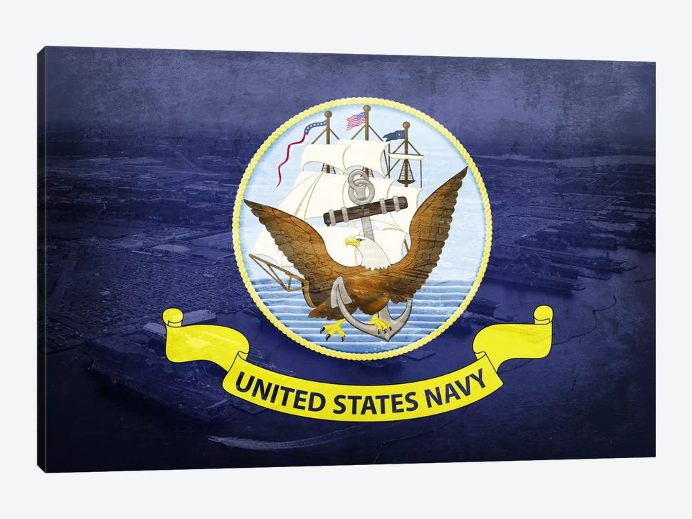 "US Navy ""Grungy"" Flag (Naval Station Norfolk Background)) 1-piece Canvas Art"