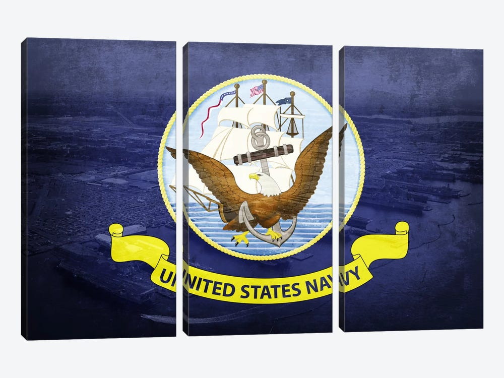 "US Navy ""Grungy"" Flag (Naval Station Norfolk Background)) 3-piece Canvas Artwork"