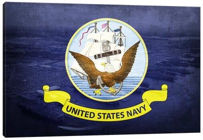 U.S. Navy Flag (Naval Station Norfolk Background) II Canvas Art Print
