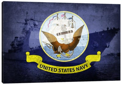 U.S. Navy Flag (U.S.S Monterey Background) Canvas Art Print