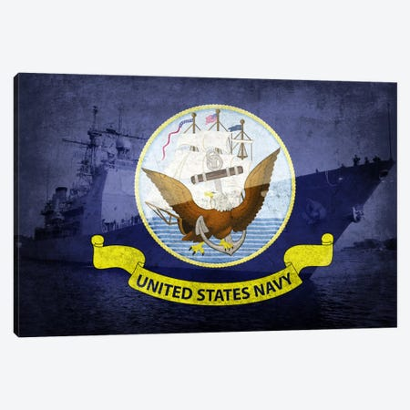 U.S. Navy Flag (U.S.S Monterey Background) Canvas Print #FLG246} by iCanvas Art Print