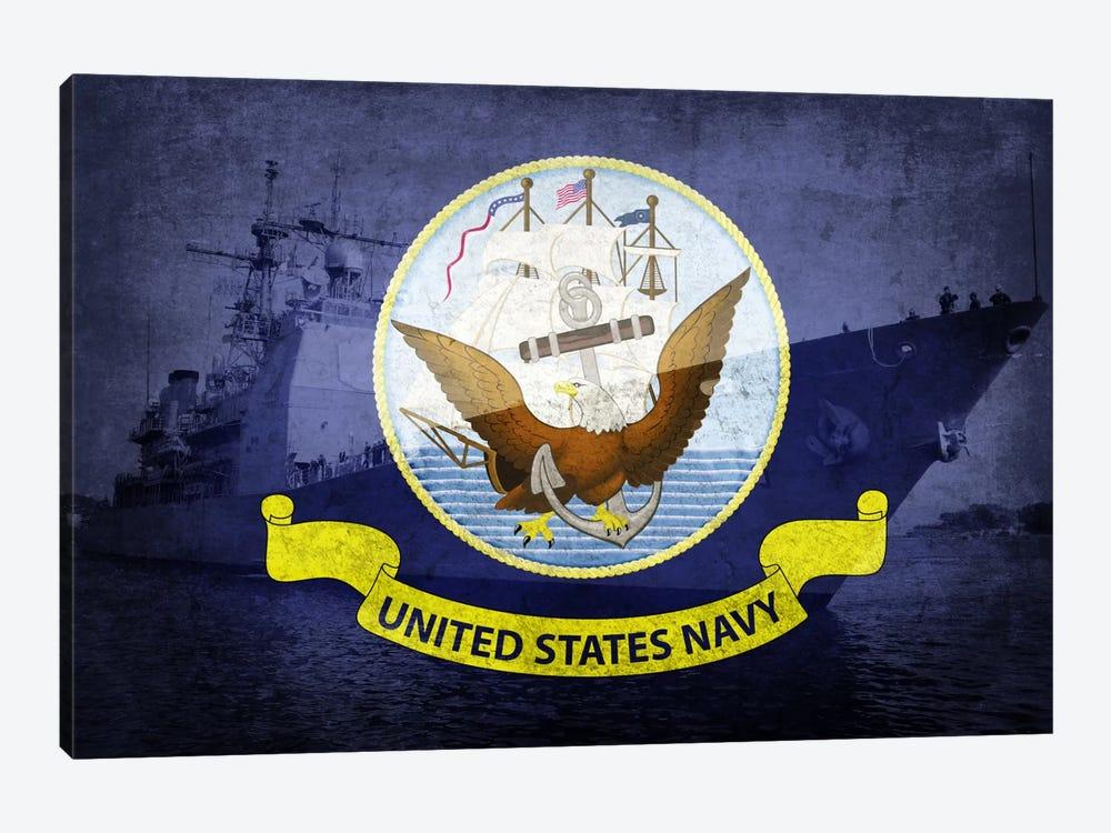 U.S. Navy Flag (U.S.S Monterey Background) by iCanvas 1-piece Art Print