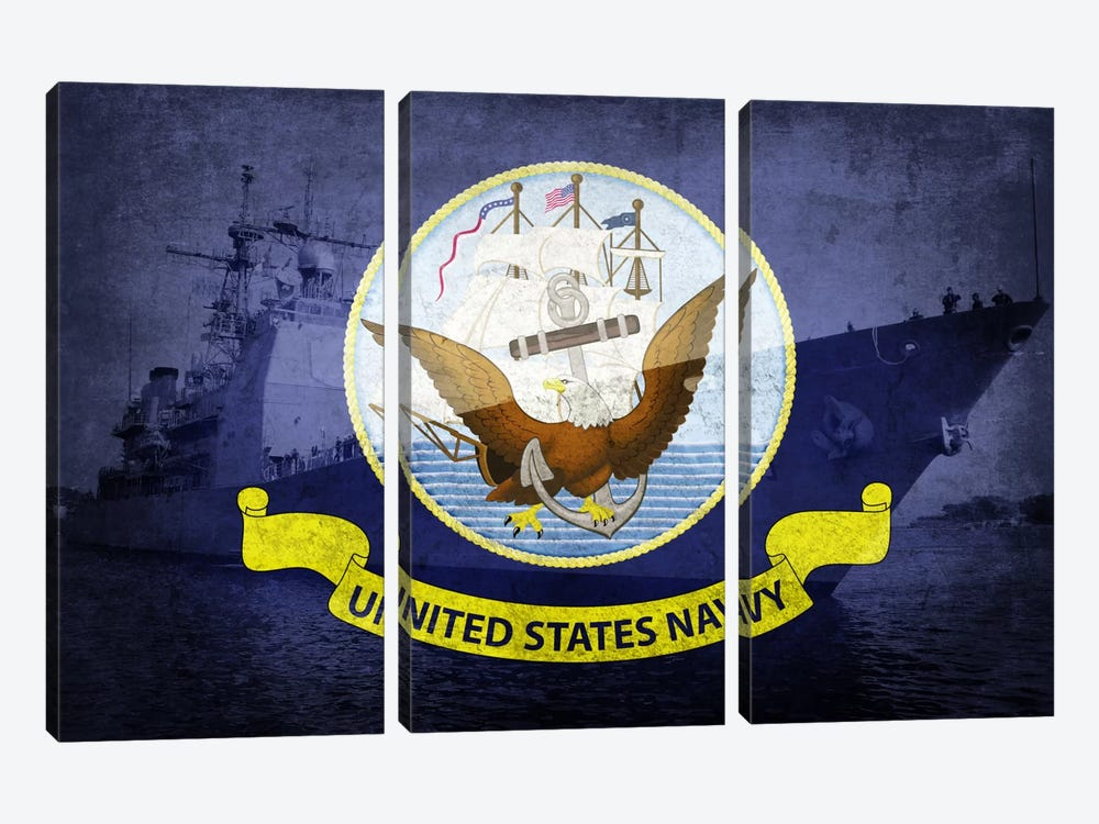 U.S. Navy Flag (U.S.S Monterey Background) by iCanvas 3-piece Art Print