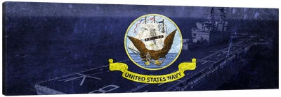 U.S. Navy Flag (U.S.S Makin Island Background) Canvas Art Print