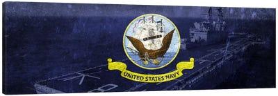 U.S. Navy Flag (U.S.S Makin Island Background) Canvas Art Print