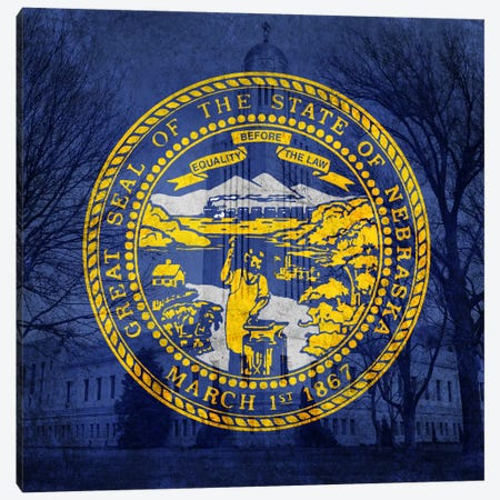 State Flag Overlay Series: Nebraska (Capitol Building) Canvas Print #FLG249} by iCanvas Canvas Wall Art