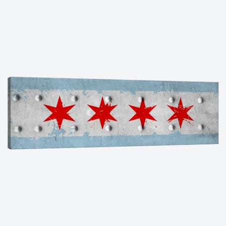 Chicago City Flag (Riveted Metal) Panoramic Canvas Print #FLG24} by iCanvas Canvas Print