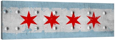 Chicago City Flag (Riveted Metal) Panoramic Canvas Print #FLG24