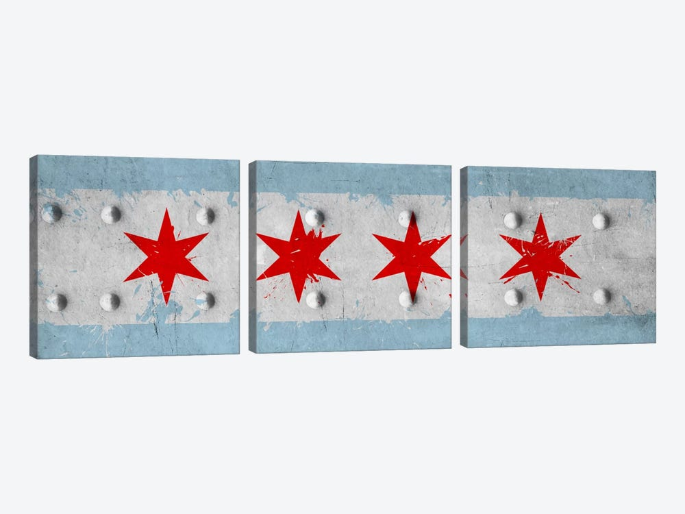 Chicago City Flag (Riveted Metal) Panoramic by iCanvas 3-piece Canvas Art
