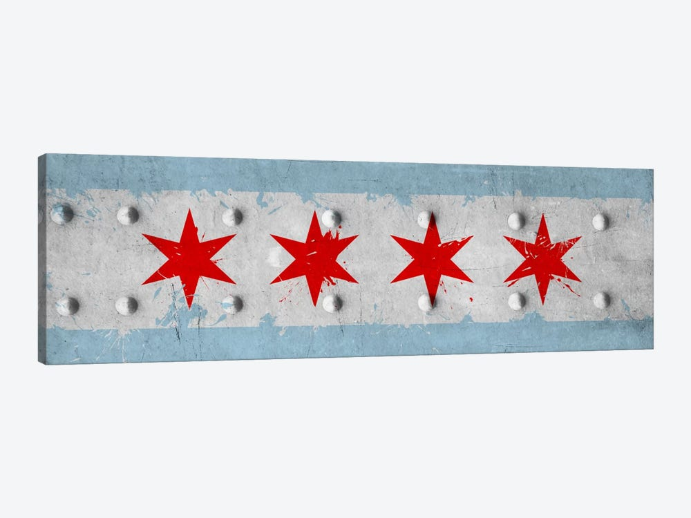 Chicago City Flag (Riveted Metal) Panoramic by iCanvas 1-piece Canvas Artwork