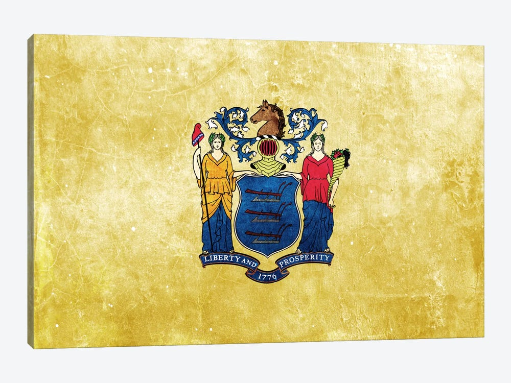State Flag Grunge Series: New Jersey I 1-piece Canvas Art Print