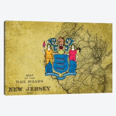 State Flag Overlay Series: New Jersey (Vintage Map) Canvas Print #FLG274} by iCanvas Canvas Artwork