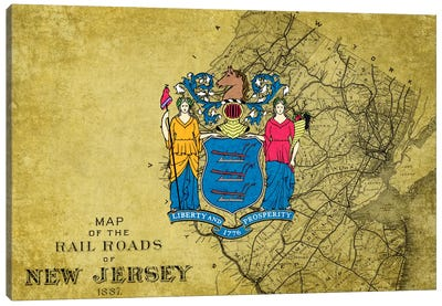 State Flag Overlay Series: New Jersey (Vintage Map) Canvas Print #FLG274