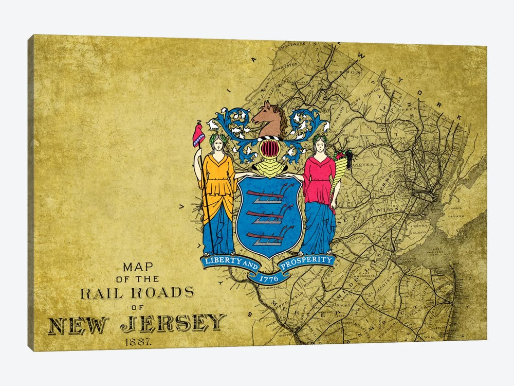 New Jersey (Vintage Map) by iCanvas 1-piece Canvas Art