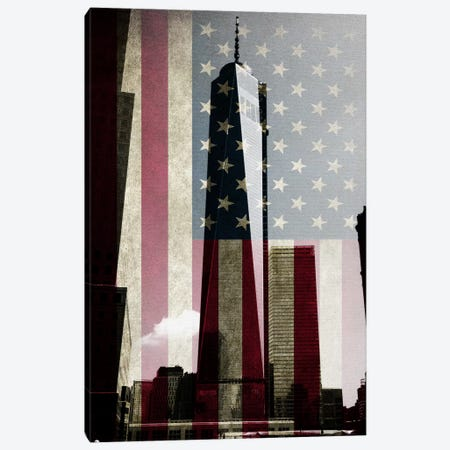 New York Freedom Tower, American Flag Canvas Print #FLG277} by iCanvas Canvas Wall Art