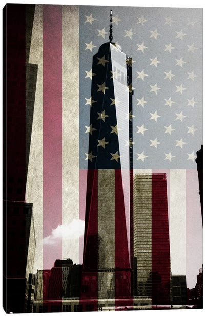 New York Freedom Tower, American Flag Canvas Print #FLG277