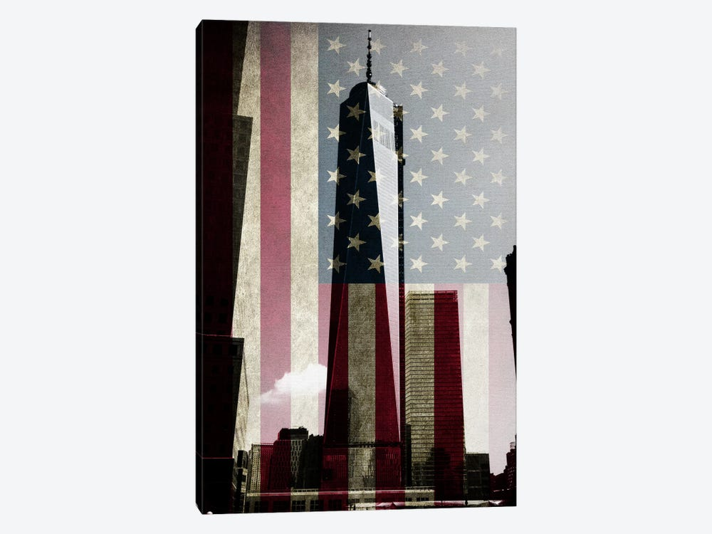 New York Freedom Tower, American Flag by iCanvas 1-piece Canvas Print