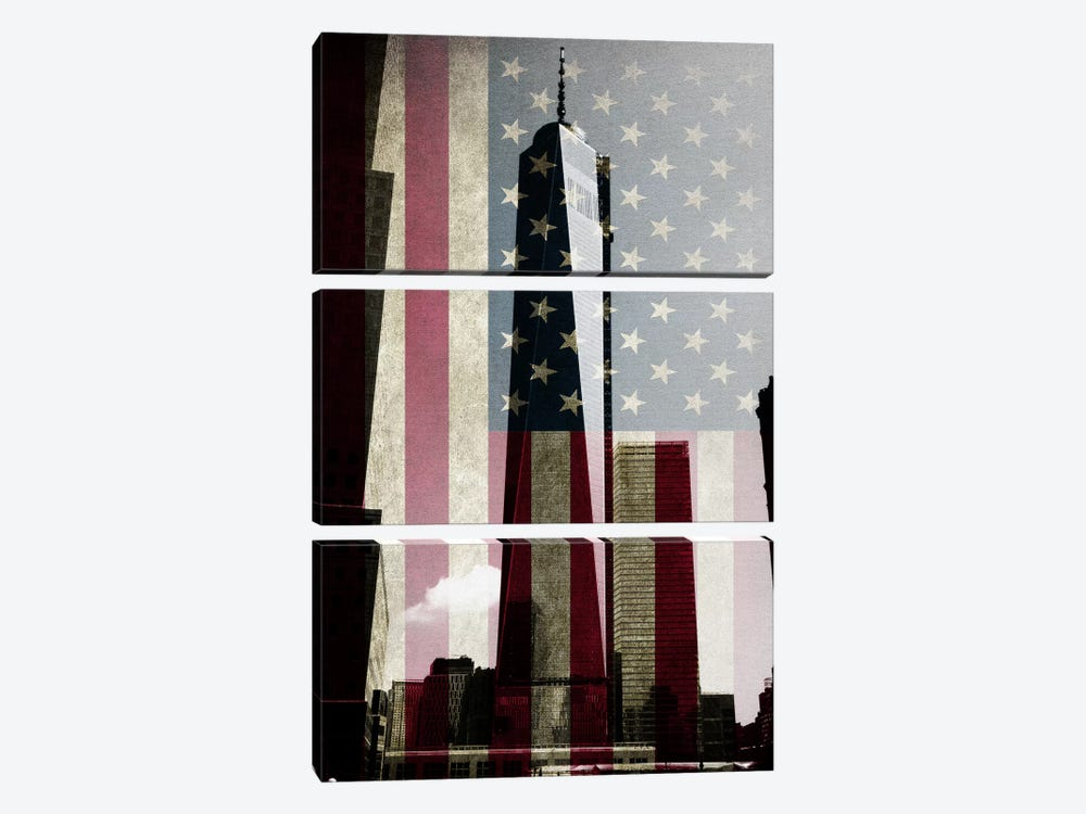 New York Freedom Tower, American Flag by iCanvas 3-piece Canvas Print