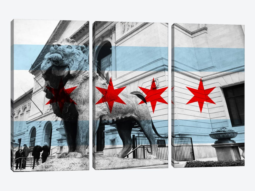 Chicago FlagArt Institute of Chicago by iCanvas 3-piece Art Print