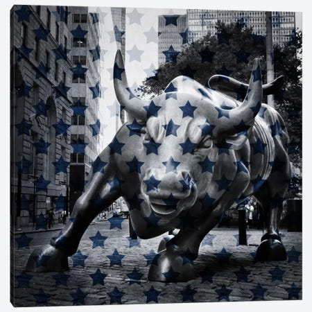 New York - Wall Street Charging BullBlue Stars Canvas Print #FLG281} by iCanvas Canvas Art