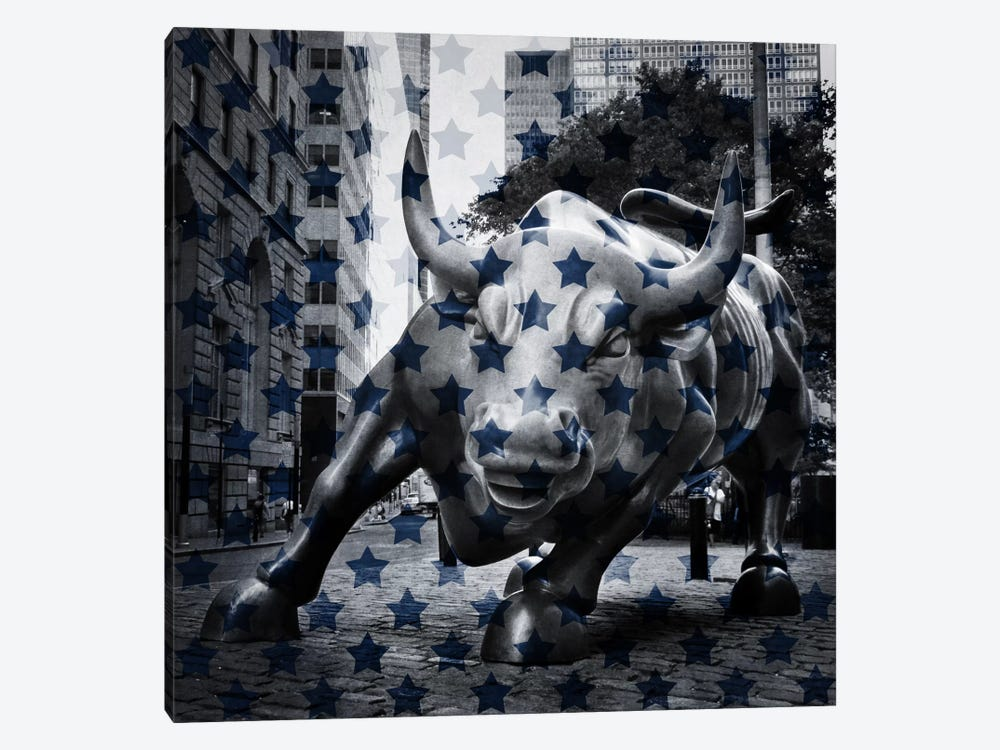 New York - Wall Street Charging BullBlue Stars by iCanvas 1-piece Canvas Artwork
