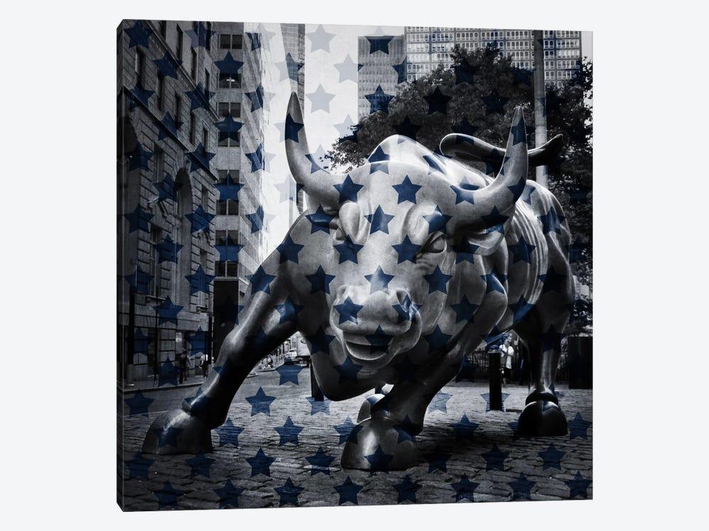 New York - Wall Street Charging BullBlue Stars by iCanvas 1-piece Canvas Artwork