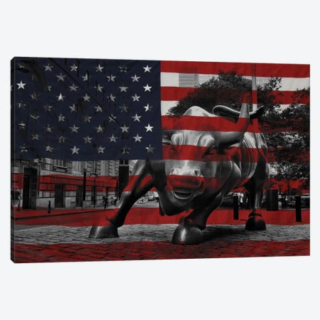 New York - Wall Street Charging Bull, US Flag Canvas Print #FLG283} by iCanvas Canvas Art