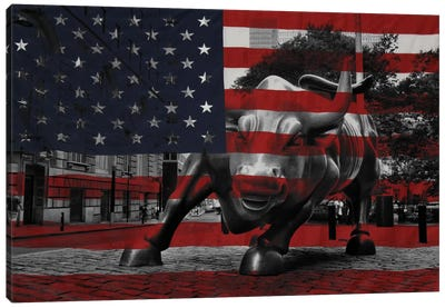 New York - Wall Street Charging Bull, US Flag Canvas Art Print