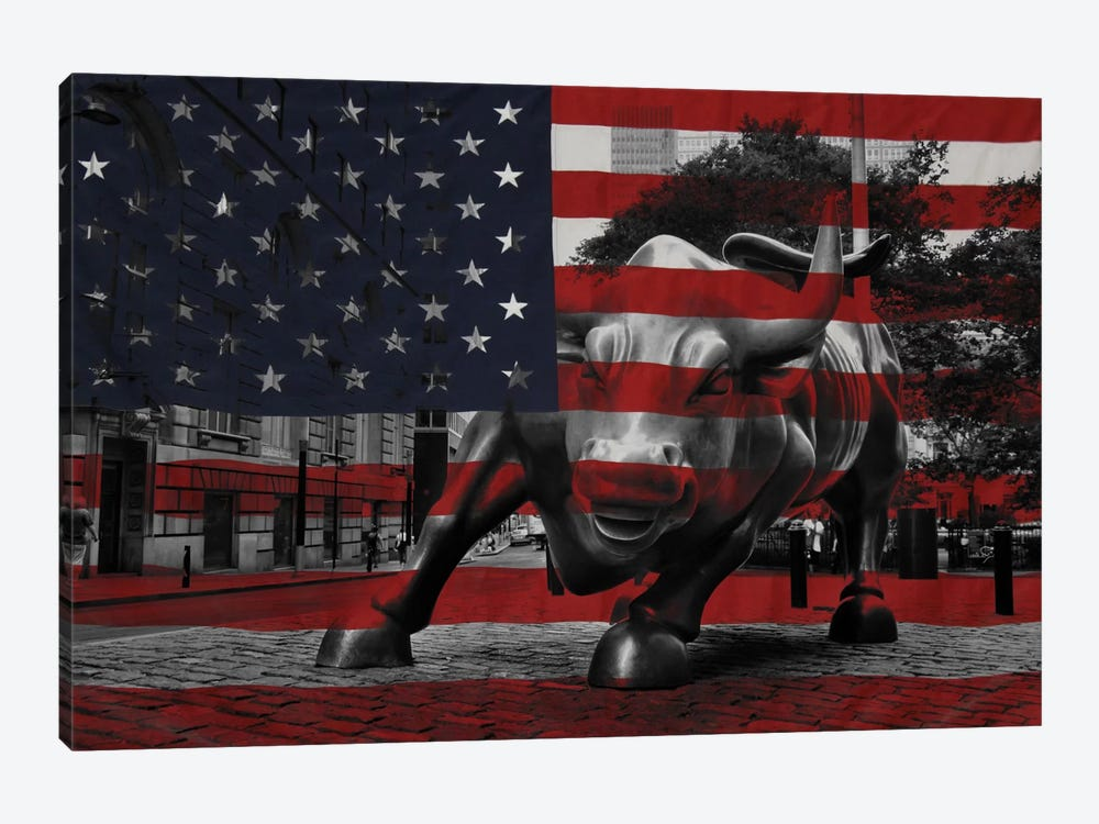 New York - Wall Street Charging Bull, US Flag by iCanvas 1-piece Canvas Wall Art