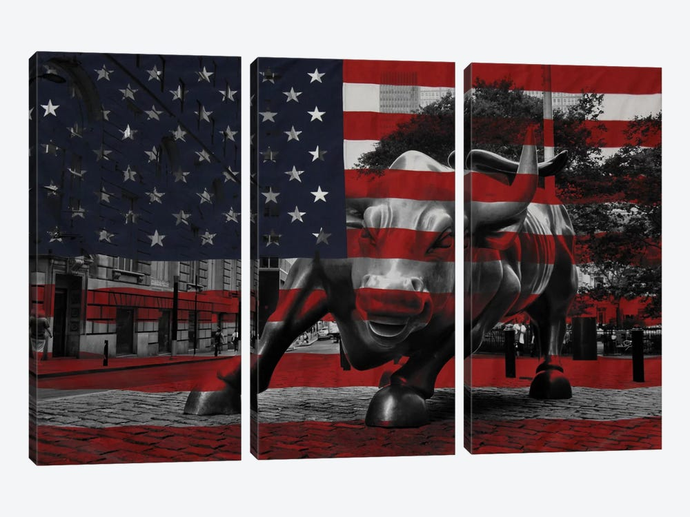 New York - Wall Street Charging Bull, US Flag by iCanvas 3-piece Canvas Art