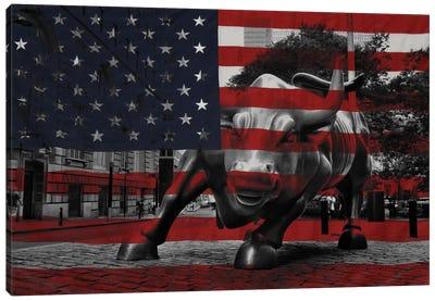 New York - Wall Street Charging Bull, US Flag Canvas Art Print