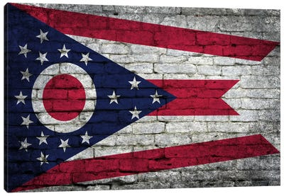 Ohio State Flag on Bricks Canvas Art Print