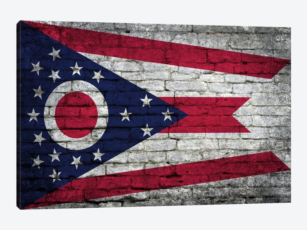 Ohio State Flag on Bricks by iCanvas 1-piece Canvas Print