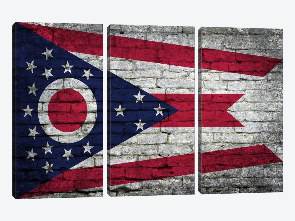 Ohio State Flag on Bricks by iCanvas 3-piece Art Print