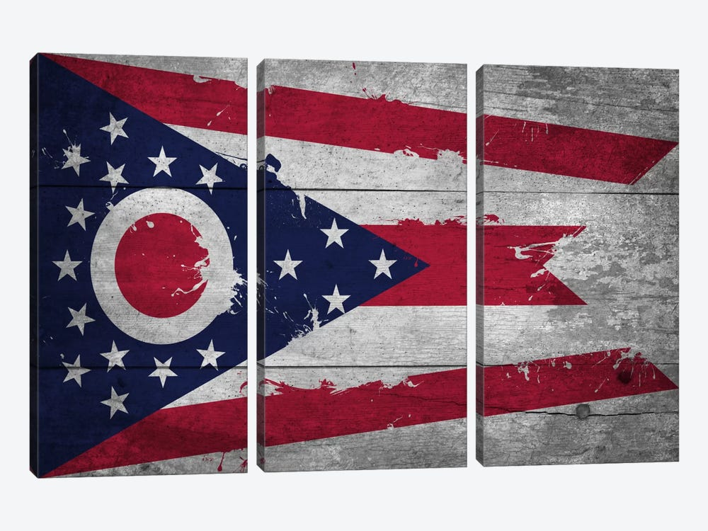 Ohio FlagWood Planks with Splatters by iCanvas 3-piece Canvas Wall Art