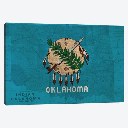 State Flag Overlay Series: Oklahoma (Vintage Map) Canvas Print #FLG293} by iCanvas Canvas Art Print
