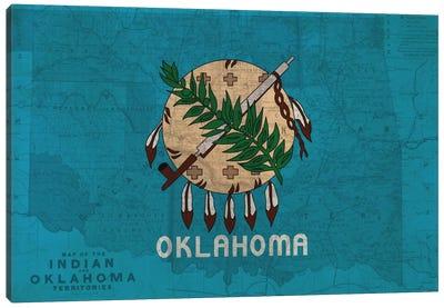 State Flag Overlay Series: Oklahoma (Vintage Map) Canvas Print #FLG293