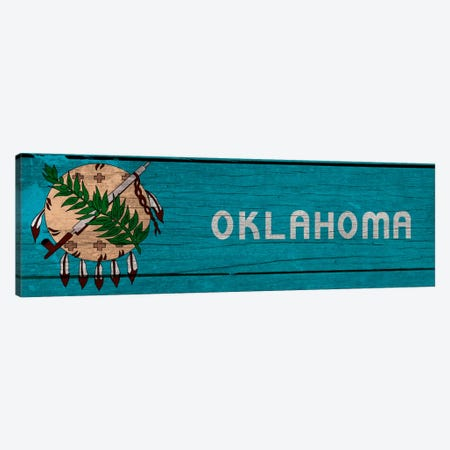 Oklahoma State Flag on Wood Planks Panoramic Canvas Print #FLG298} by iCanvas Art Print
