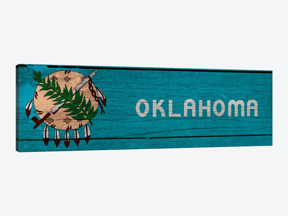Oklahoma State Flag on Wood Planks Panoramic by iCanvas 1-piece Canvas Wall Art