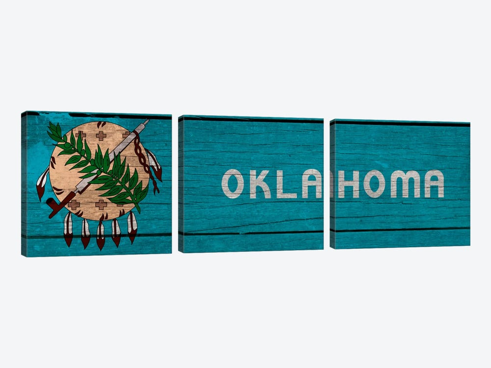Oklahoma State Flag on Wood Planks Panoramic by iCanvas 3-piece Canvas Artwork