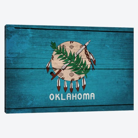 Oklahoma State Flag on Wood Planks Canvas Print #FLG299} by iCanvas Art Print