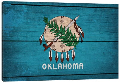 Oklahoma State Flag on Wood Planks Canvas Art Print