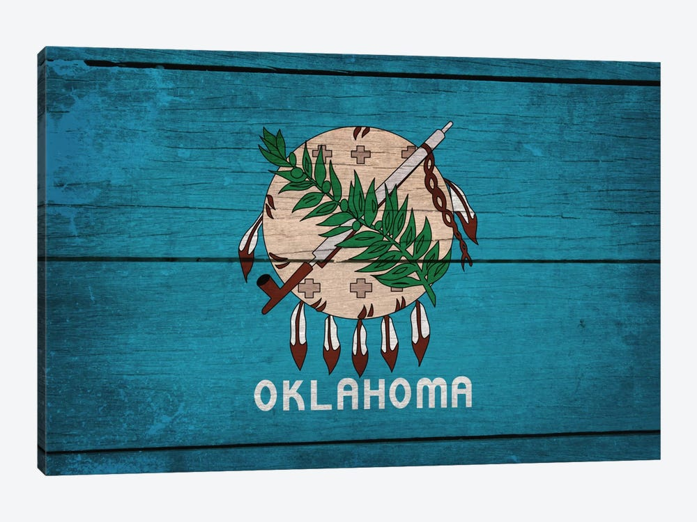 Oklahoma State Flag on Wood Planks by iCanvas 1-piece Art Print