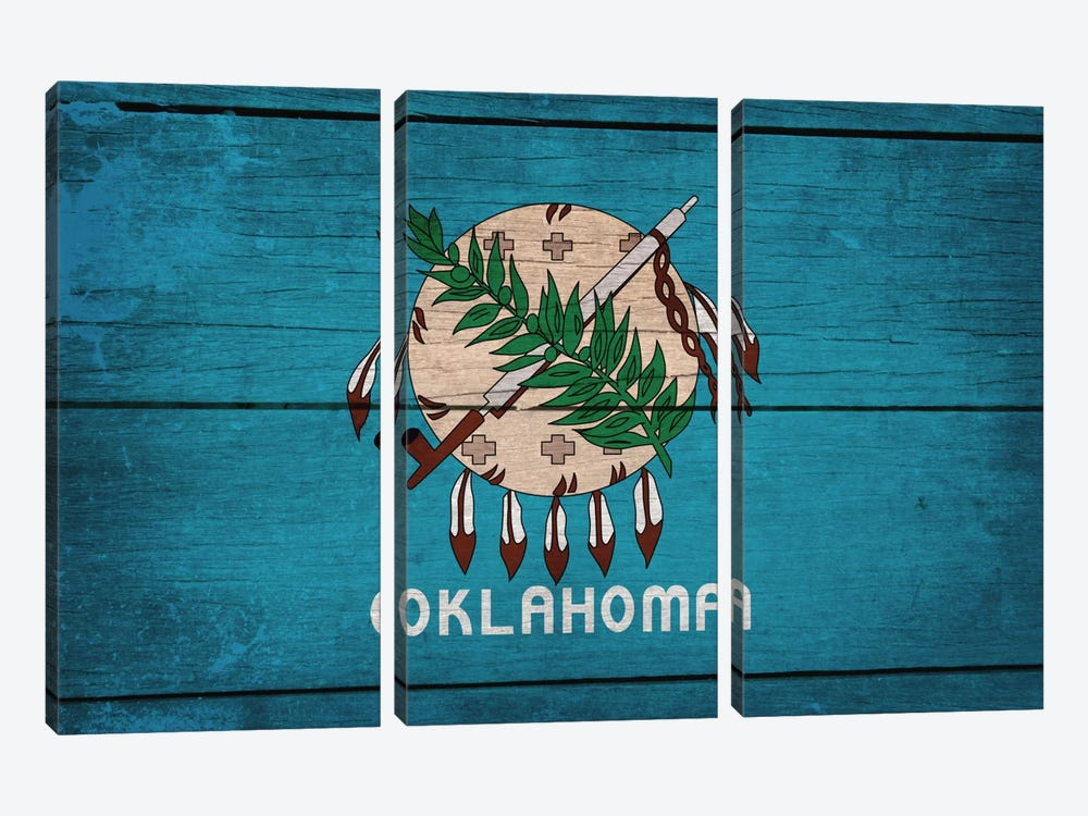 Oklahoma State Flag on Wood Planks by iCanvas 3-piece Art Print