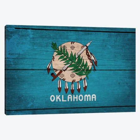 Oklahoma State Flag on Wood Planks Canvas Print #FLG299} by iCanvas Art Print