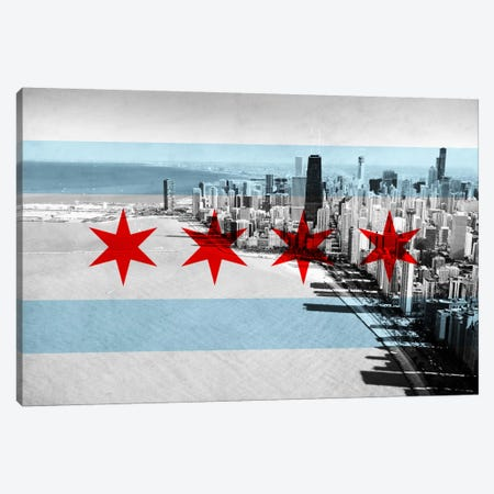 Chicago City Flag (Downtown Skyline) Canvas Print #FLG29} by iCanvas Canvas Artwork