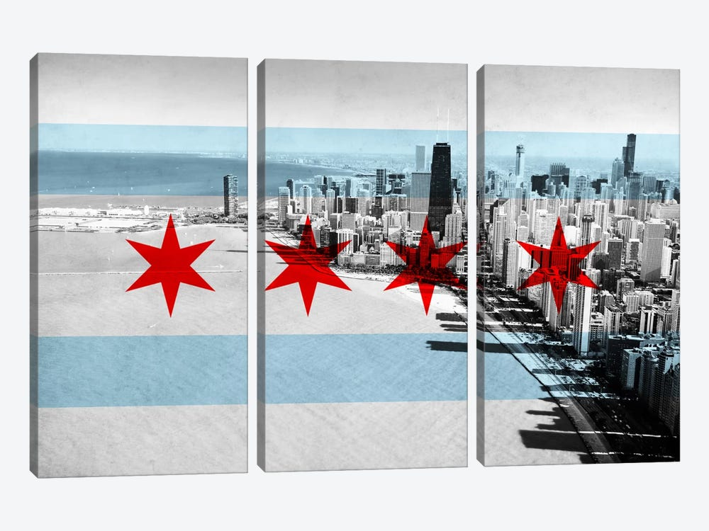 Chicago Flag, Chicago Skyline 3-piece Canvas Art Print