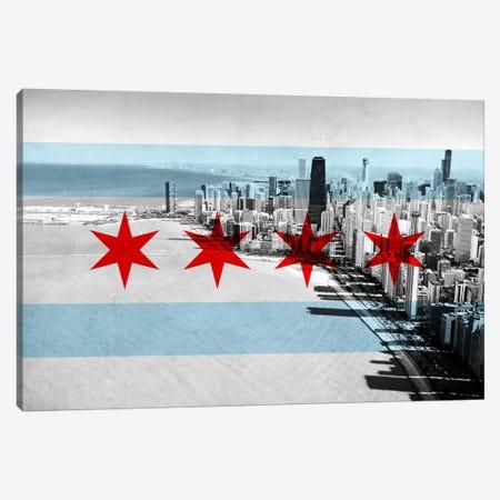 Chicago City Flag (Downtown Skyline) Canvas Print #FLG29} by iCanvas Canvas Artwork