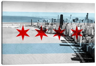 Chicago City Flag (Downtown Skyline) Canvas Art Print