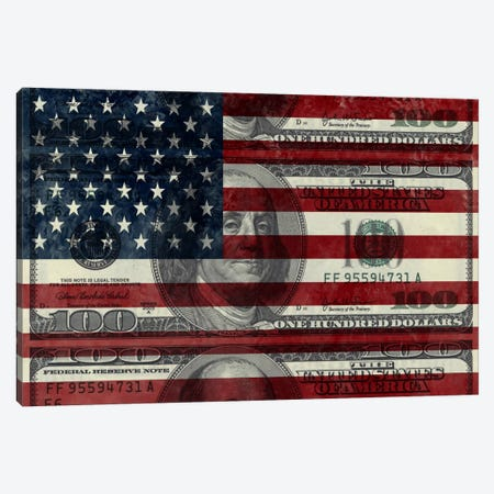 "USA ""Grungy"" Flag (100 Dollar Bill) Canvas Print #FLG2} by iCanvas Canvas Artwork"